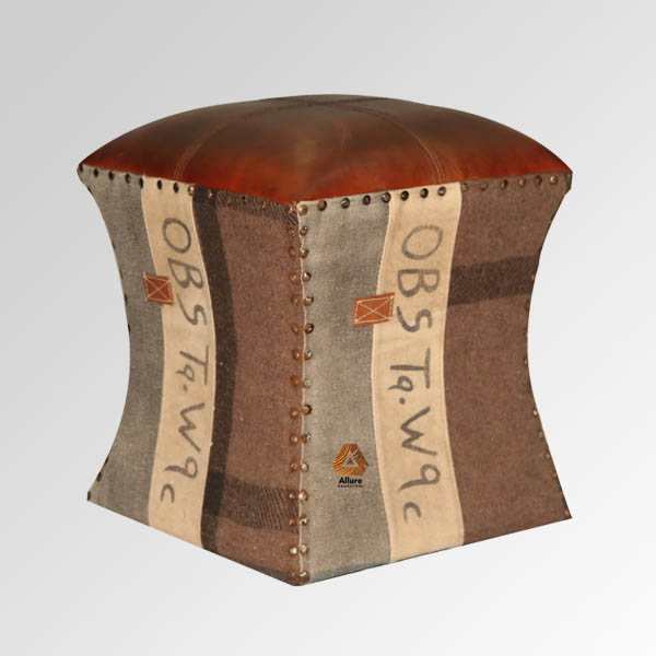 Leather & Fabric Ottoman