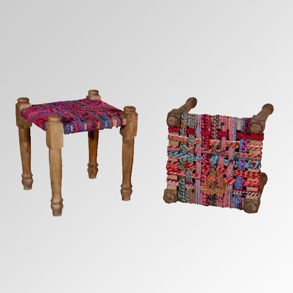 Colorful Handwoven Stool (46X46X50)